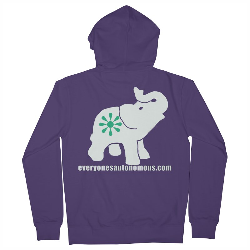 White Elephant with website Women's Zip-Up Hoody by Everyone's Autonomous' Artist Shop