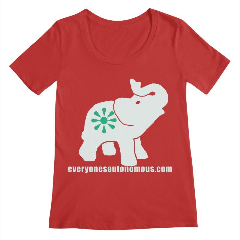 White Elephant with website Women's Regular Scoop Neck by everyonesautonomous's Artist Shop