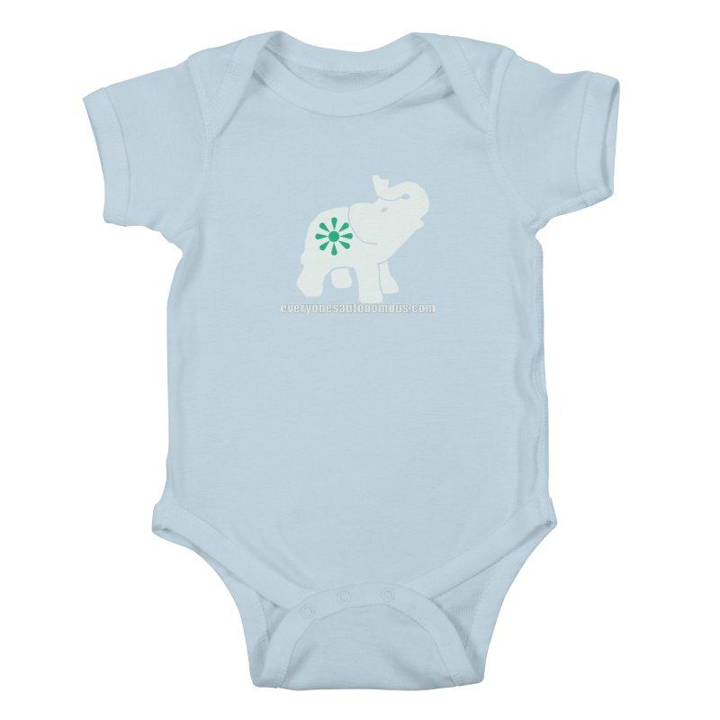 White Elephant with website Kids Baby Bodysuit by everyonesautonomous's Artist Shop