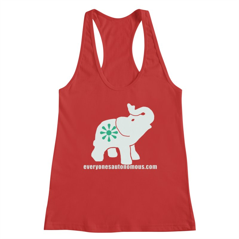 White Elephant with website Women's Racerback Tank by everyonesautonomous's Artist Shop