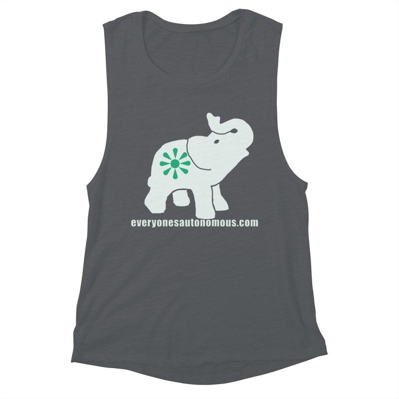 White Elephant with website Women's Muscle Tank by everyonesautonomous's Artist Shop