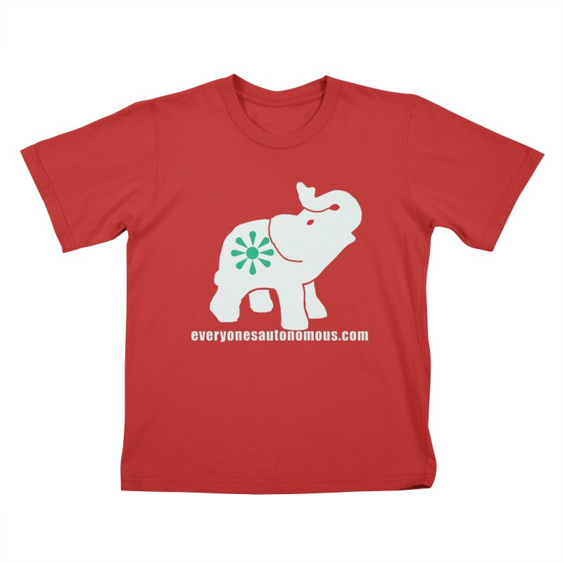 White Elephant with website Kids T-Shirt by everyonesautonomous's Artist Shop