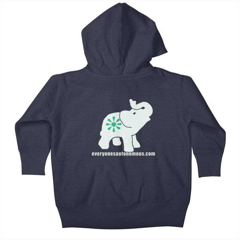 White Elephant with website Kids Baby Zip-Up Hoody by everyonesautonomous's Artist Shop