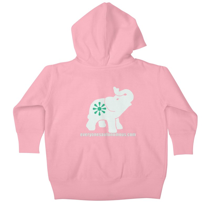 White Elephant with website Kids Baby Zip-Up Hoody by Everyone's Autonomous' Artist Shop