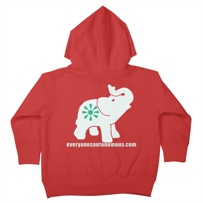 White Elephant with website Kids Toddler Zip-Up Hoody by Everyone's Autonomous' Artist Shop