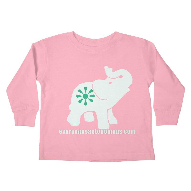 White Elephant with website Kids Toddler Longsleeve T-Shirt by everyonesautonomous's Artist Shop
