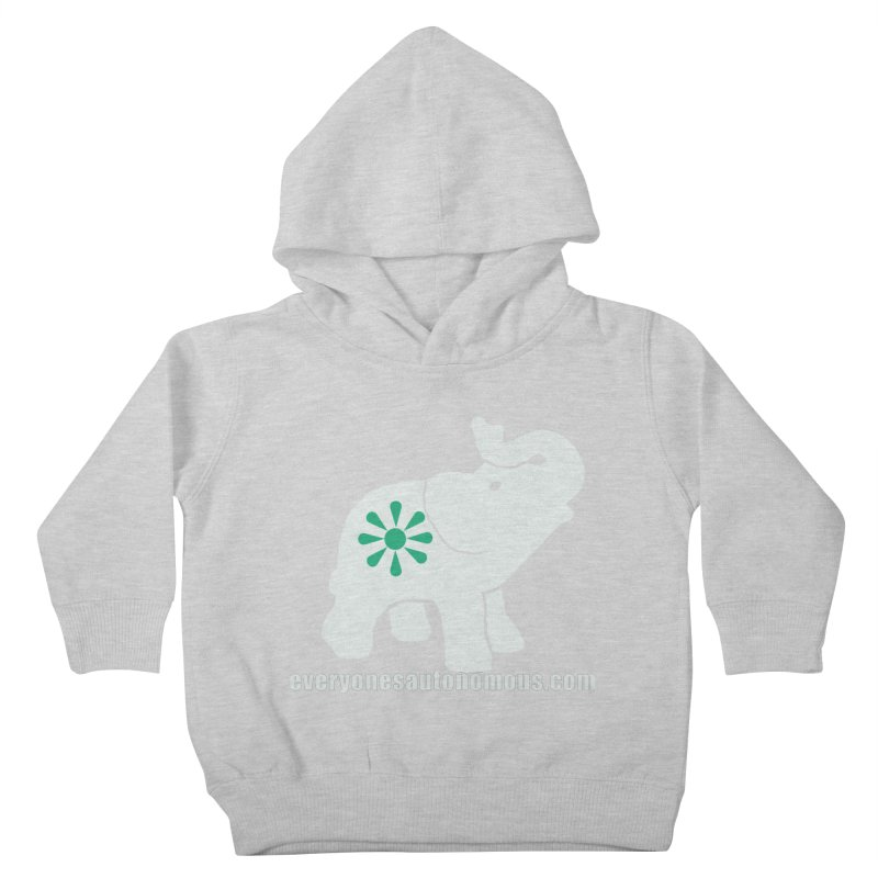 White Elephant with website Kids Toddler Pullover Hoody by Everyone's Autonomous' Artist Shop