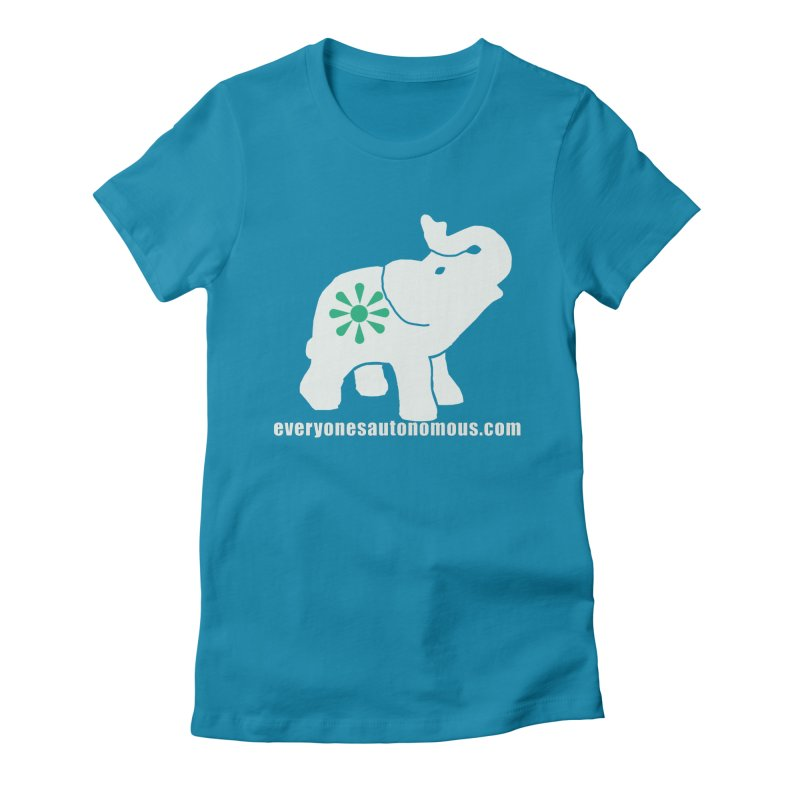 White Elephant with website Women's Fitted T-Shirt by everyonesautonomous's Artist Shop
