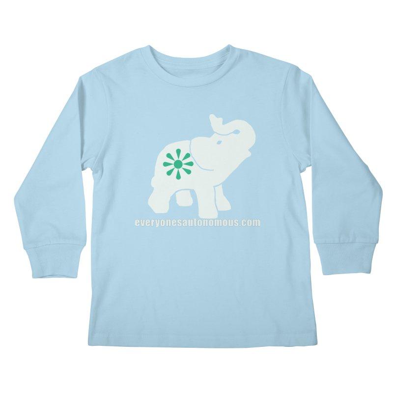 White Elephant with website Kids Longsleeve T-Shirt by everyonesautonomous's Artist Shop