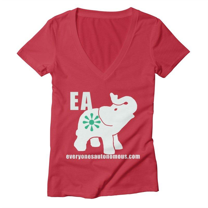 White Elephant with EA and WWW Women's Deep V-Neck V-Neck by everyonesautonomous's Artist Shop