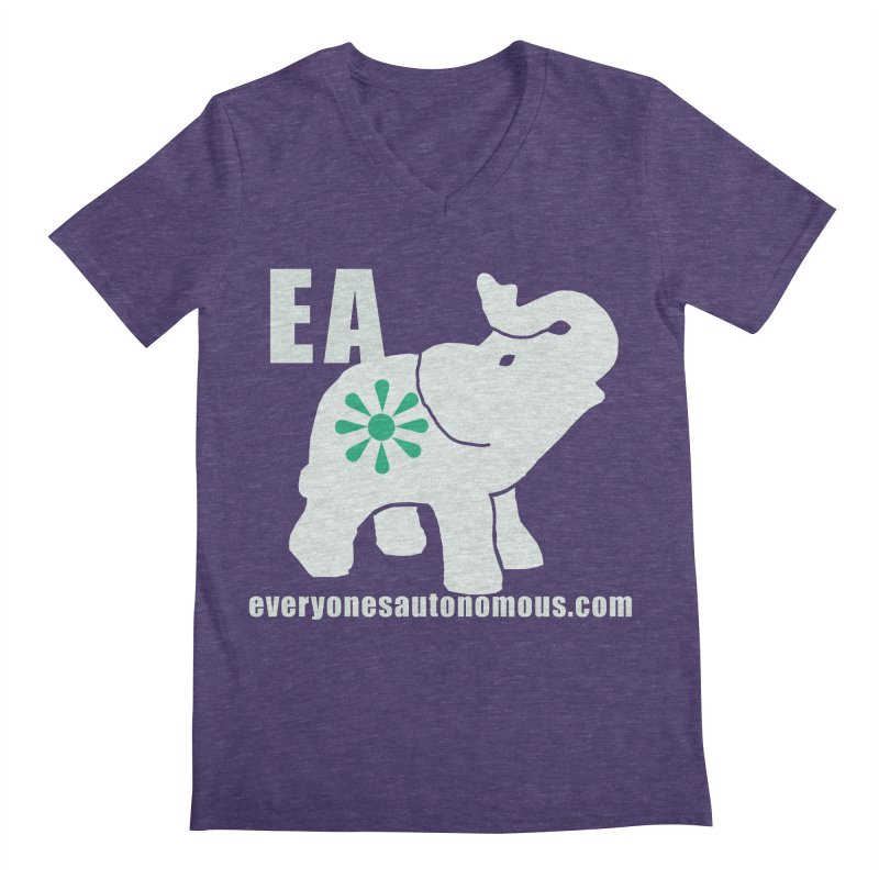 White Elephant with EA and WWW Men's Regular V-Neck by everyonesautonomous's Artist Shop