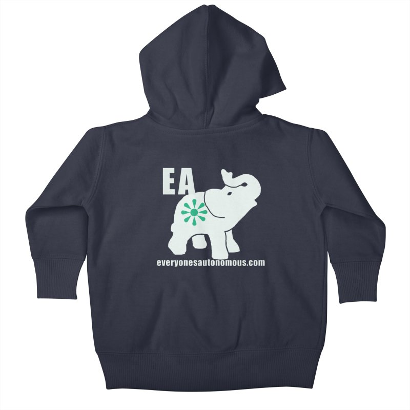 White Elephant with EA and WWW Kids Baby Zip-Up Hoody by Everyone's Autonomous' Artist Shop