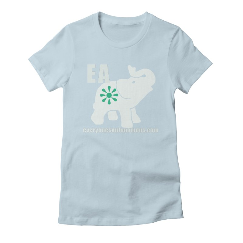 White Elephant with EA and WWW Women's Fitted T-Shirt by everyonesautonomous's Artist Shop