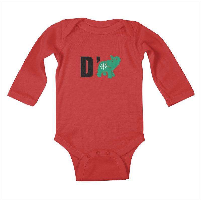 D'Elephant Kids Baby Longsleeve Bodysuit by everyonesautonomous's Artist Shop