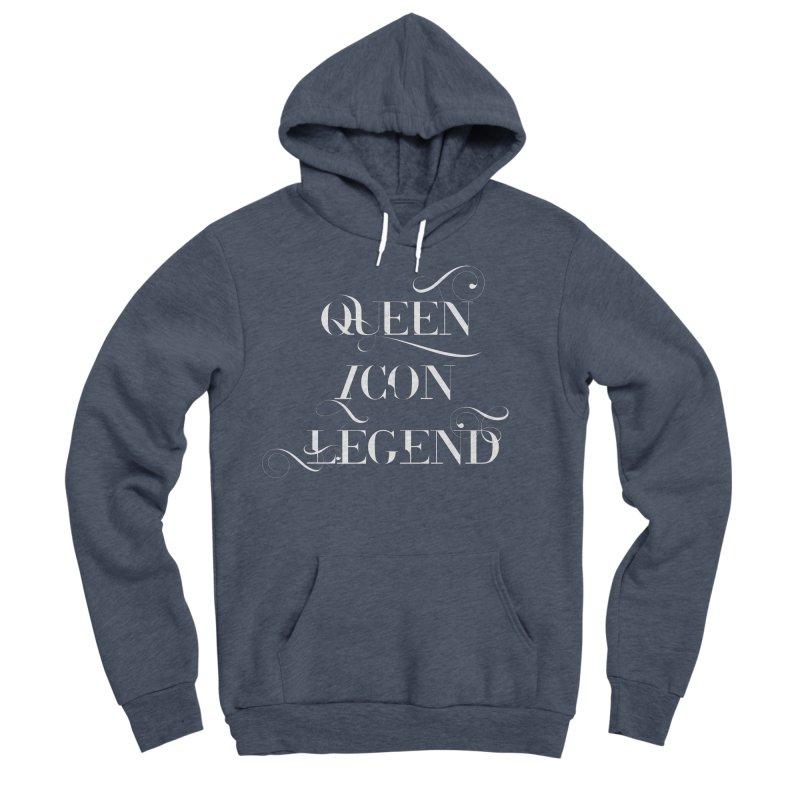 Queen Icon Legend (White on Dark) Men's Sponge Fleece Pullover Hoody by everythingiconic's Artist Shop