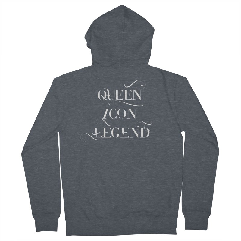 Queen Icon Legend (White on Dark) Men's French Terry Zip-Up Hoody by everythingiconic's Artist Shop