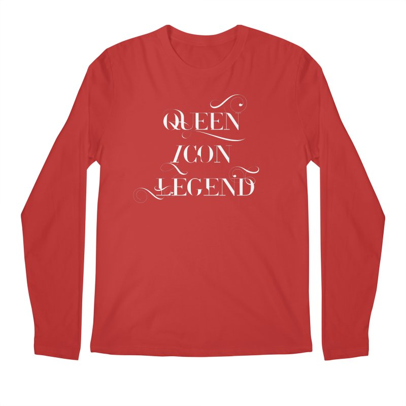 Queen Icon Legend (White on Dark) Men's Regular Longsleeve T-Shirt by everythingiconic's Artist Shop