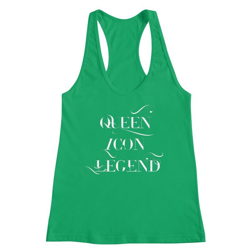 Queen Icon Legend (White on Dark) Women's Racerback Tank by everythingiconic's Artist Shop
