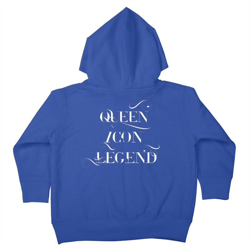 Queen Icon Legend (White on Dark) Kids Toddler Zip-Up Hoody by everythingiconic's Artist Shop