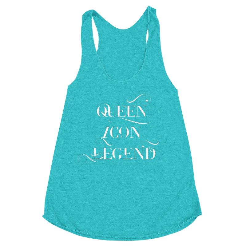 Queen Icon Legend (White on Dark) Women's Racerback Triblend Tank by everythingiconic's Artist Shop