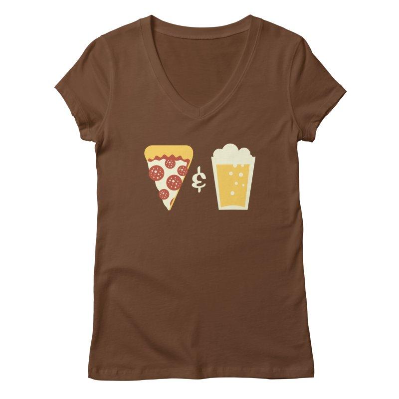 Pizza & Beer Women's V-Neck by EVILGOODS