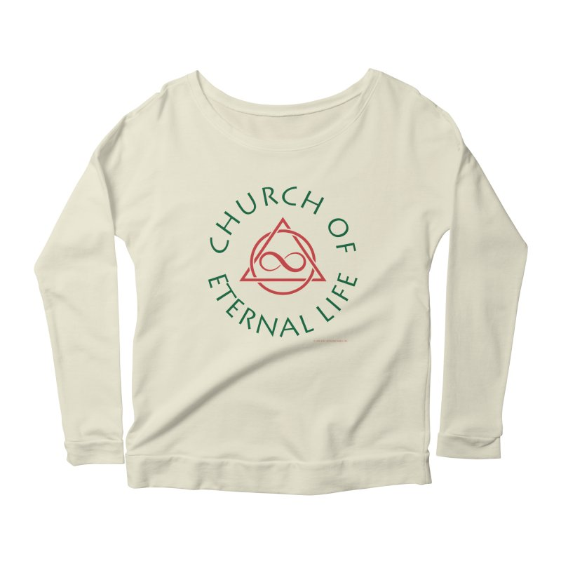 Church of Eternal Life logo in Women's Scoop Neck Longsleeve T-Shirt Natural by Evil Overlord Games - The Shop!
