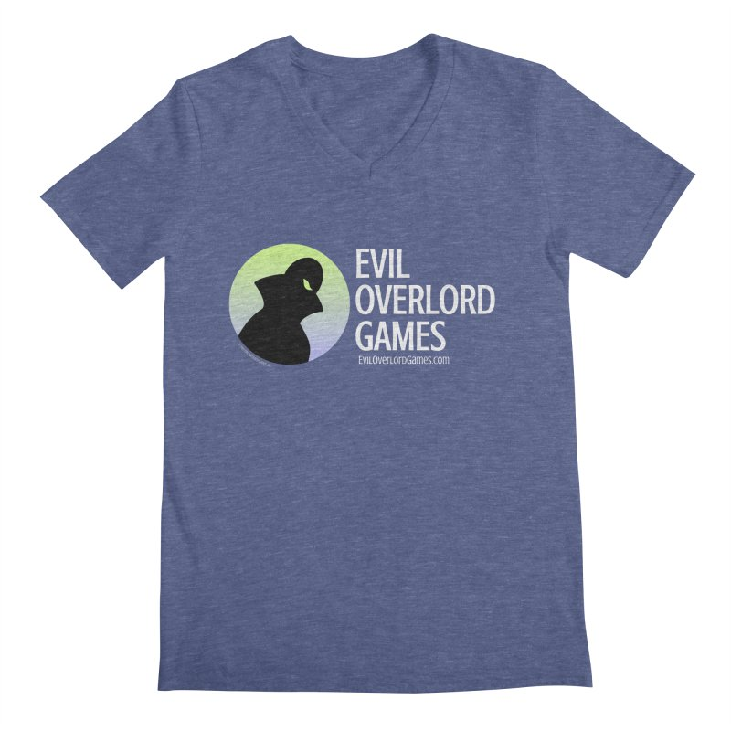 Evil Overlord logo - light in Men's Regular V-Neck Heather Blue by Evil Overlord Games - The Shop!
