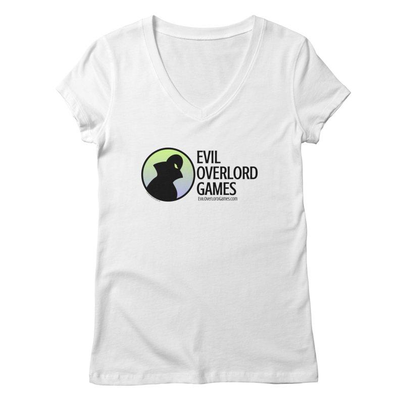 Evil Overlord logo - dark in Women's Regular V-Neck White by Evil Overlord Games - The Shop!