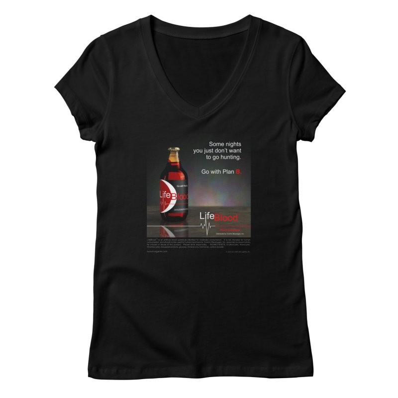 LifeBlood Ad Women's V-Neck by Evil Overlord Games - The Shop!