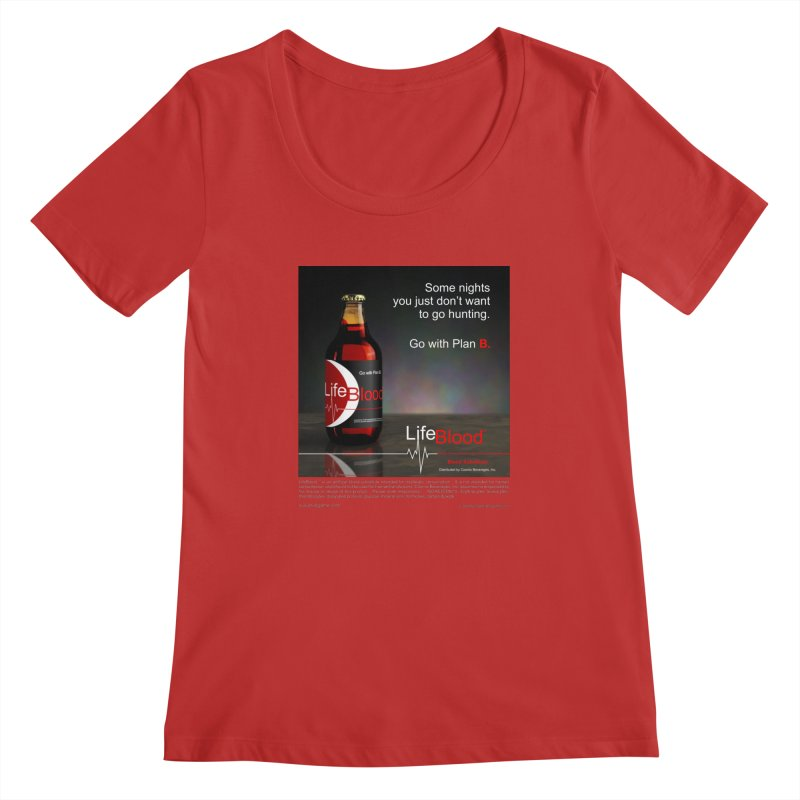 LifeBlood Ad in Women's Regular Scoop Neck Red by Evil Overlord Games - The Shop!