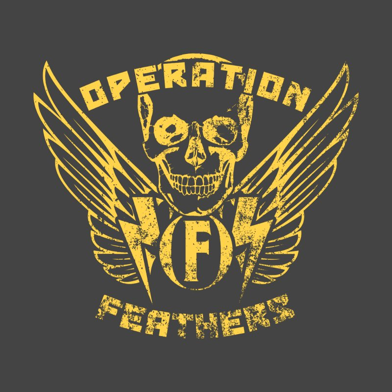 Operation Feathers Logo - Distressed Gold on Dark Grey Men's Longsleeve T-Shirt by The Evocative Workshop's SFX Art Studio Shop