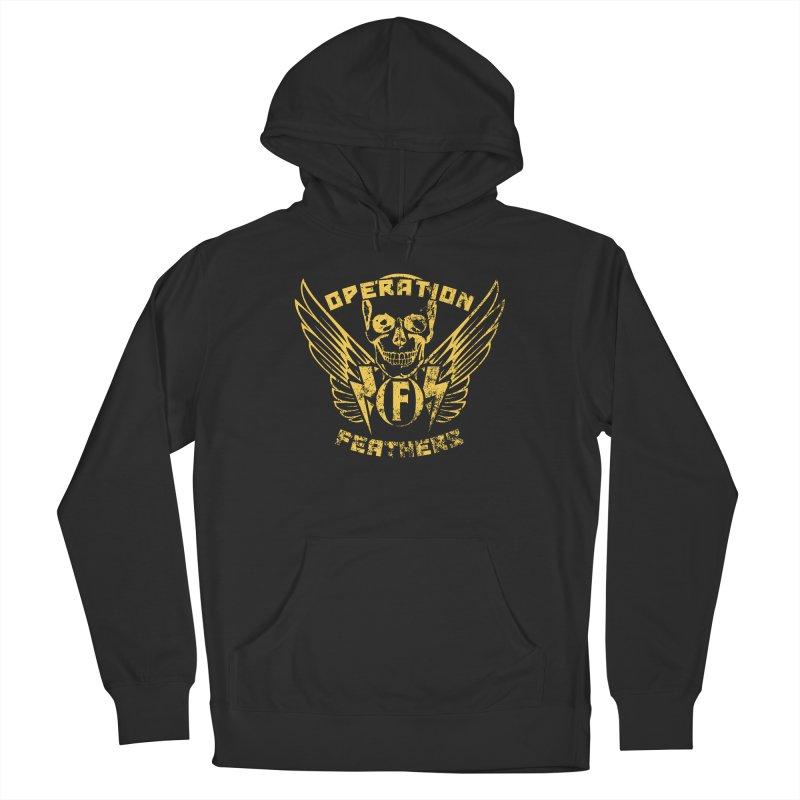 Operation Feathers Logo - Distressed Gold on Dark Grey Women's Pullover Hoody by The Evocative Workshop's SFX Art Studio Shop