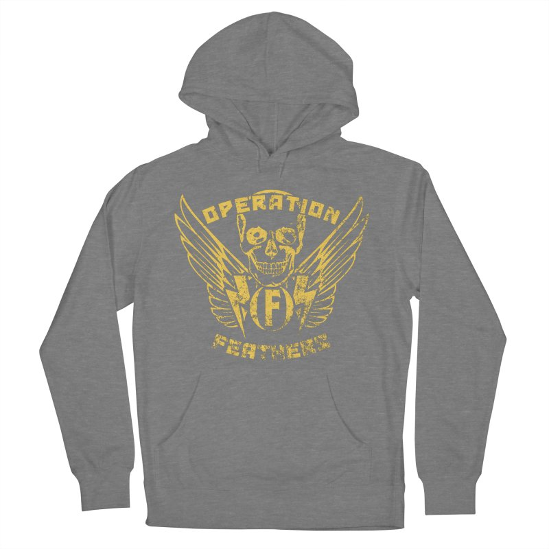 Operation Feathers Logo - Distressed Gold on Dark Grey Women's French Terry Pullover Hoody by The Evocative Workshop's SFX Art Studio Shop