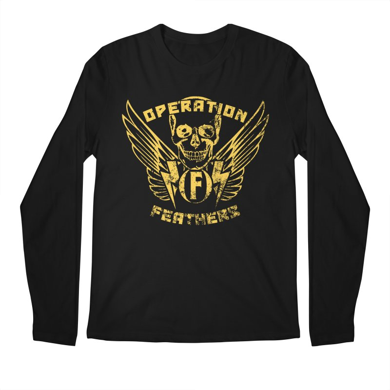 Operation Feathers Logo - Distressed Gold on Dark Grey Men's Longsleeve T-Shirt by The Evocative Workshop's SFX Art Studio Shop