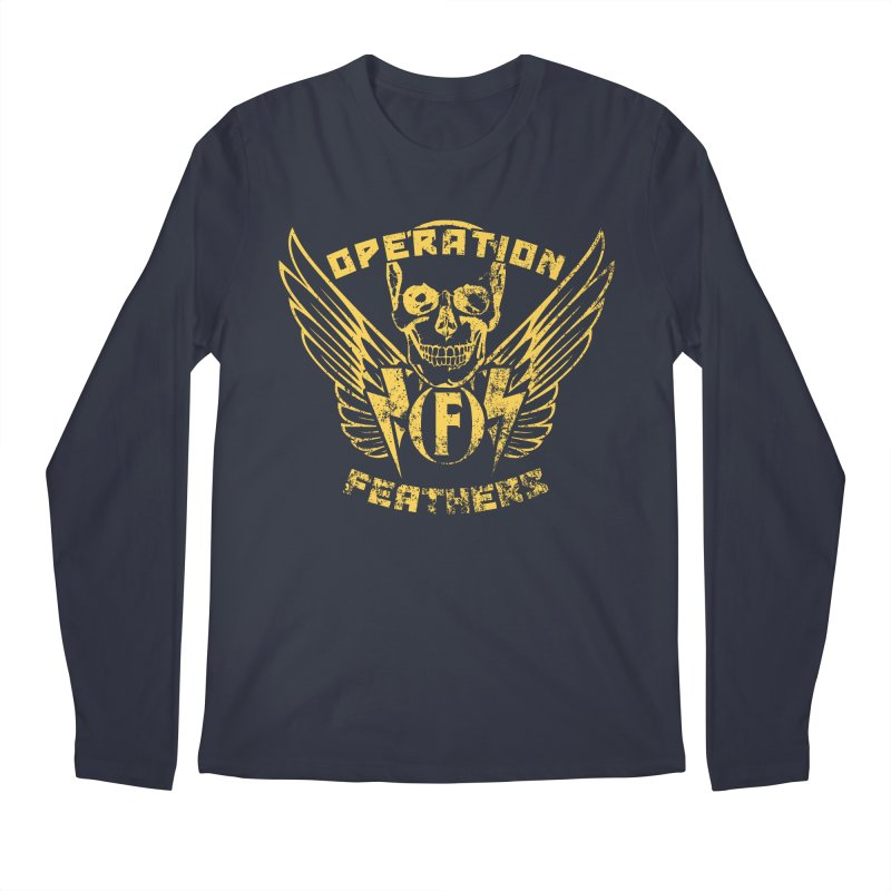 Operation Feathers Logo - Distressed Gold on Dark Grey Men's Regular Longsleeve T-Shirt by The Evocative Workshop's SFX Art Studio Shop