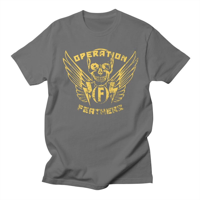 Operation Feathers Logo - Distressed Gold on Dark Grey Men's T-Shirt by The Evocative Workshop's SFX Art Studio Shop