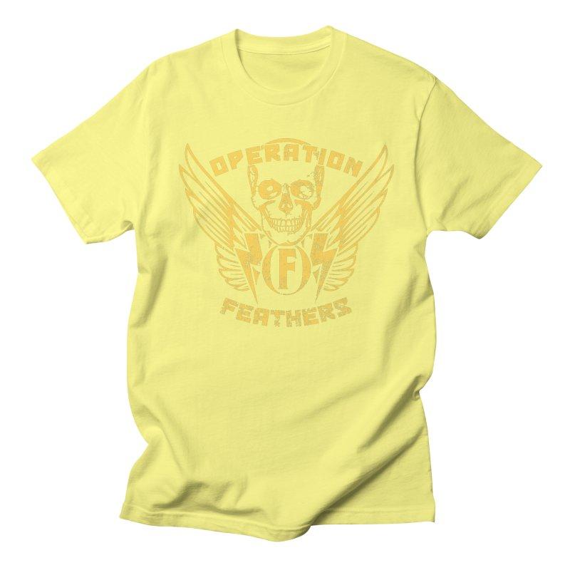Operation Feathers Logo - Distressed Gold on Dark Grey Men's Regular T-Shirt by The Evocative Workshop's SFX Art Studio Shop