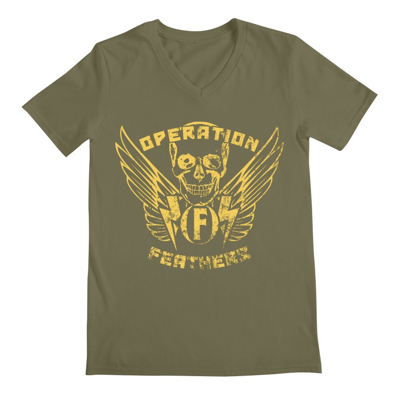 Operation Feathers Logo - Distressed Gold on Dark Grey Men's V-Neck by The Evocative Workshop's SFX Art Studio Shop