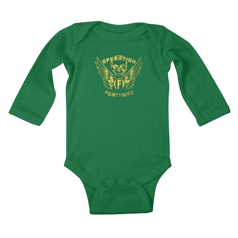 Operation Feathers Logo - Distressed Gold on Dark Grey Kids Baby Longsleeve Bodysuit by The Evocative Workshop's SFX Art Studio Shop