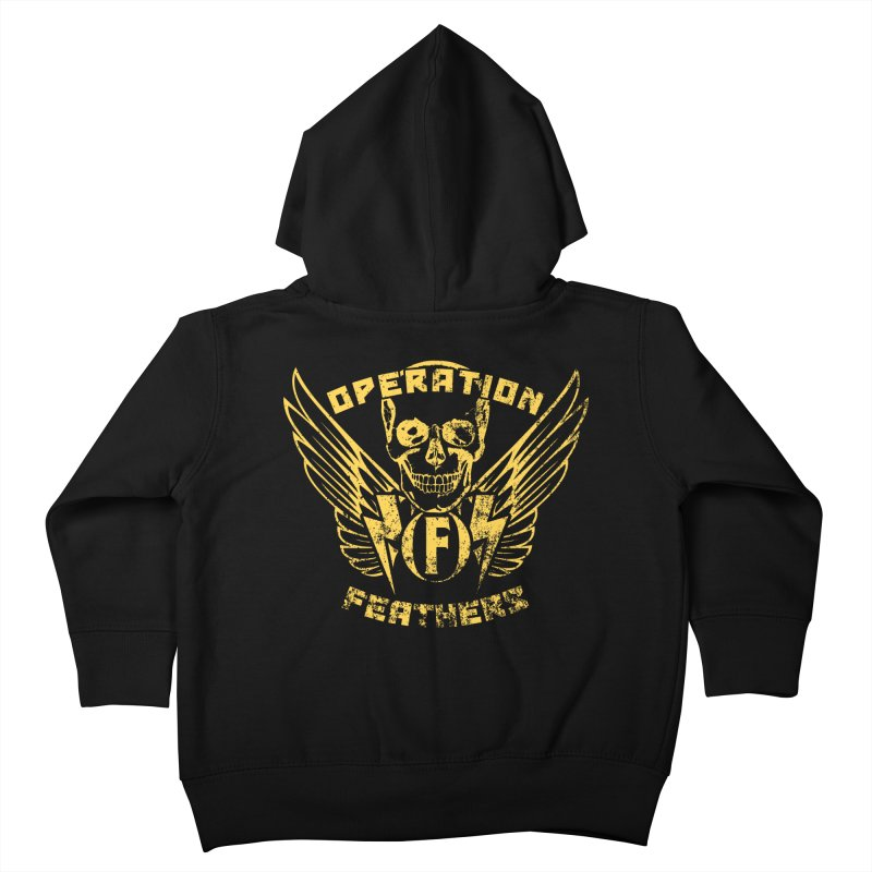 Operation Feathers Logo - Distressed Gold on Dark Grey Kids Toddler Zip-Up Hoody by The Evocative Workshop's SFX Art Studio Shop