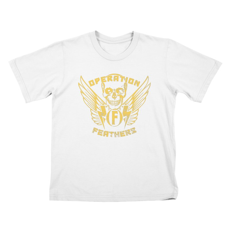 Operation Feathers Logo - Distressed Gold on Dark Grey Kids T-Shirt by The Evocative Workshop's SFX Art Studio Shop