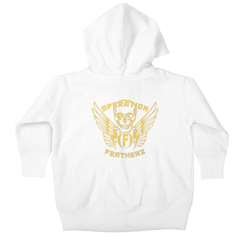 Operation Feathers Logo - Distressed Gold on Dark Grey Kids Baby Zip-Up Hoody by The Evocative Workshop's SFX Art Studio Shop