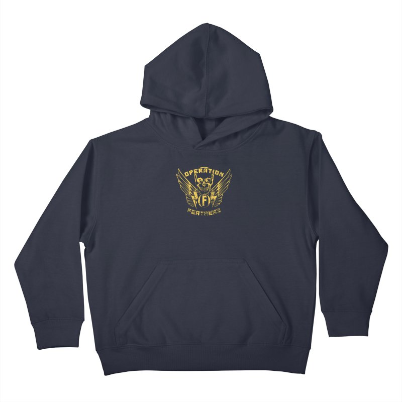 Operation Feathers Logo - Distressed Gold on Dark Grey Kids Pullover Hoody by The Evocative Workshop's SFX Art Studio Shop