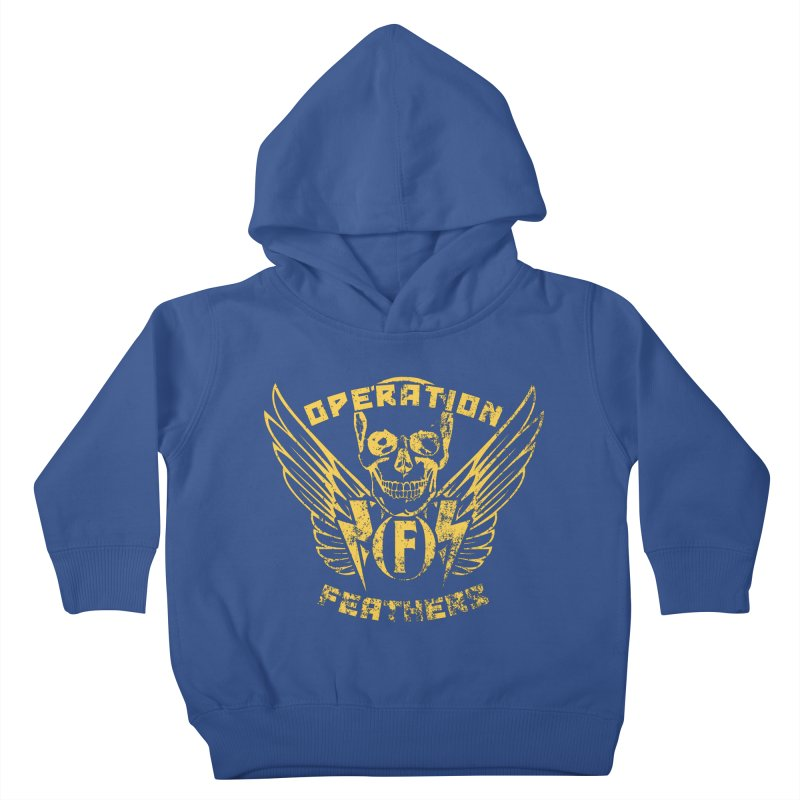 Operation Feathers Logo - Distressed Gold on Dark Grey Kids Toddler Pullover Hoody by The Evocative Workshop's SFX Art Studio Shop