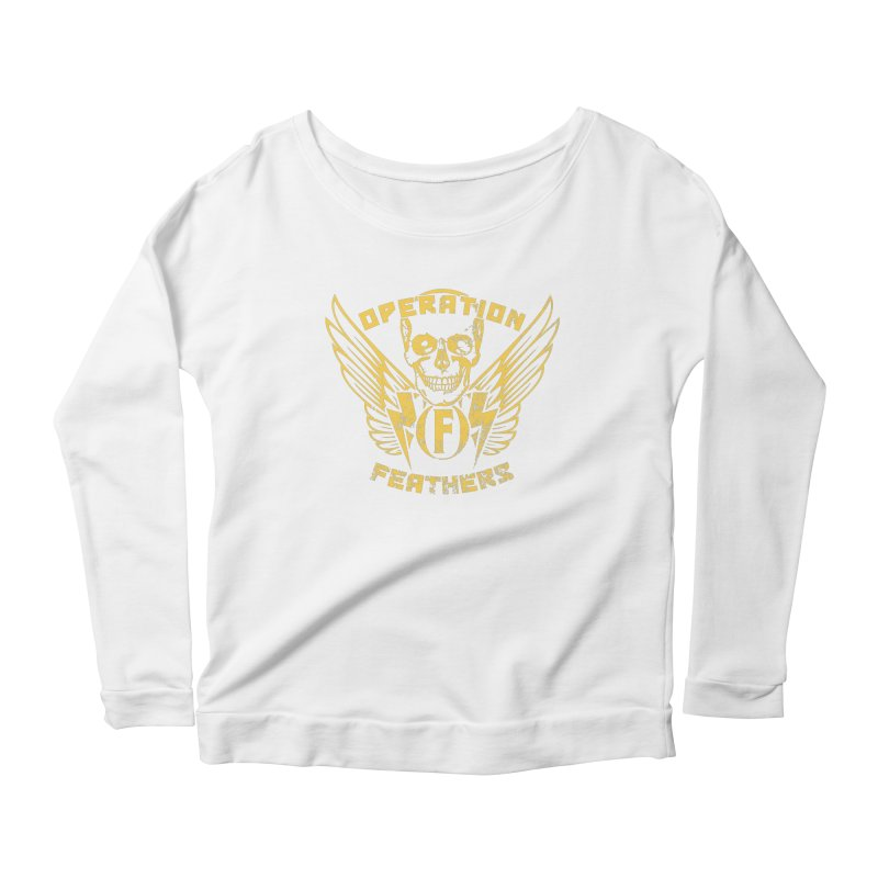 Operation Feathers Logo - Distressed Gold on Dark Grey Women's Scoop Neck Longsleeve T-Shirt by The Evocative Workshop's SFX Art Studio Shop