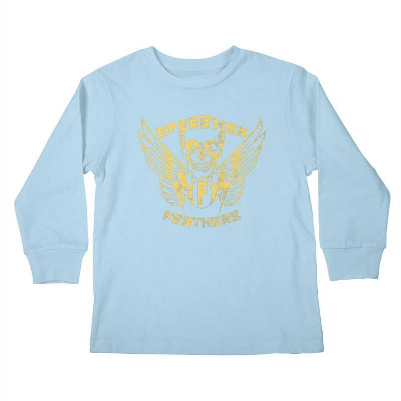 Operation Feathers Logo - Distressed Gold on Dark Grey Kids Longsleeve T-Shirt by The Evocative Workshop's SFX Art Studio Shop