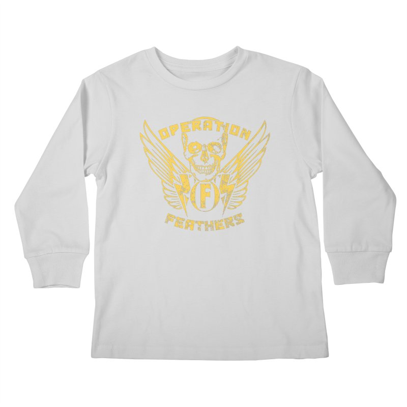 Operation Feathers Logo - Distressed Gold on Dark Grey Kids Longsleeve T-Shirt by The Evocative Workshop's SFX Art Studio Shop