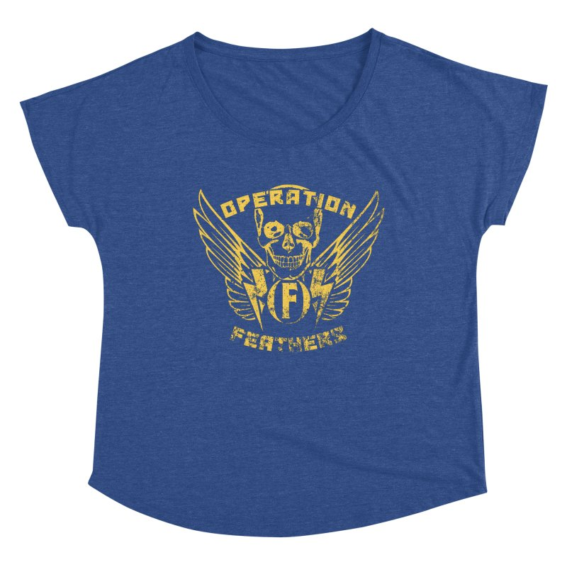 Operation Feathers Logo - Distressed Gold on Dark Grey Women's Scoop Neck by The Evocative Workshop's SFX Art Studio Shop