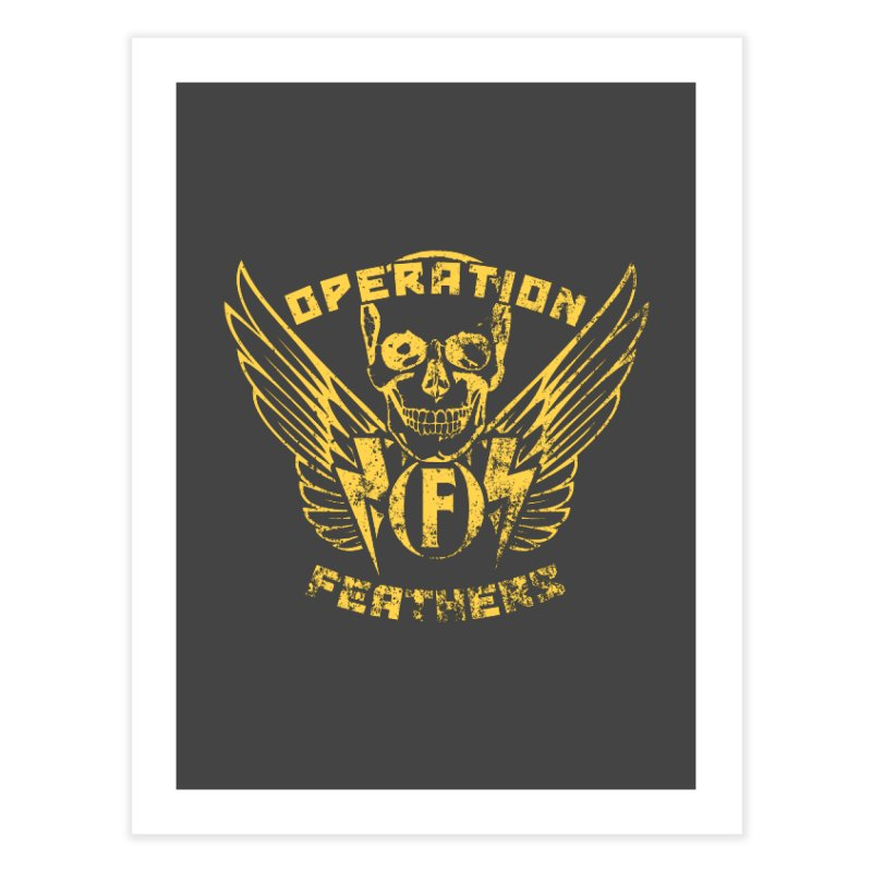 Operation Feathers Logo - Distressed Gold on Dark Grey Home Fine Art Print by The Evocative Workshop's SFX Art Studio Shop