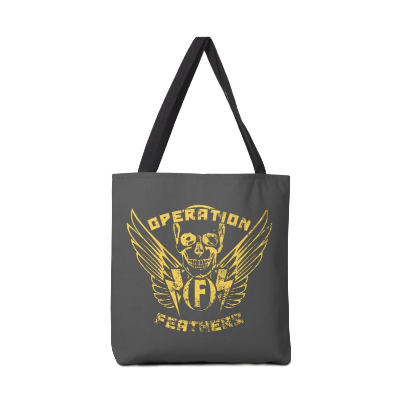 Operation Feathers Logo - Distressed Gold on Dark Grey Accessories Tote Bag Bag by The Evocative Workshop's SFX Art Studio Shop